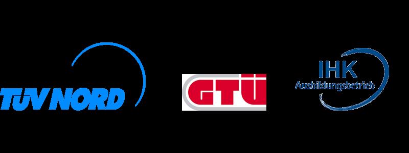 Logos von TÜV Prüfsiegel, Abgasuntersuchung und IHK