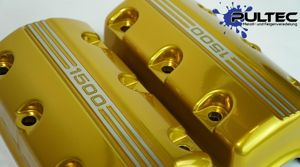 Goldene BMW Motordeckel von Pultec bei der Motorradwerkstatt aus Ibbenbüren